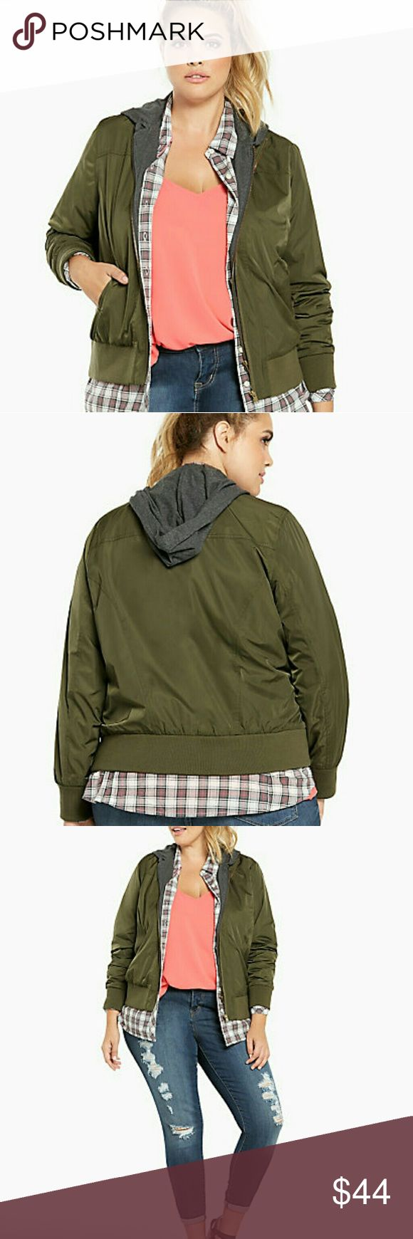 New Olive Green Hooded Bomber Jacket size 00 (XL) Brand New with Tags Torrid  Jackets & Coats