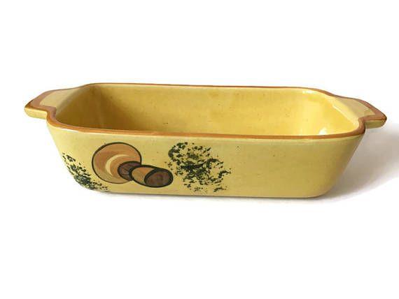 Retro Los Angeles Potteries Mushroom Loaf Pan Vintage Mustard