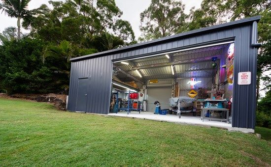 Tip We Colourbond Clad Our House For Minimum Maintenance Teamed With These Led Lights It S Garage Door Design Metal Building House Plans Backyard Buildings