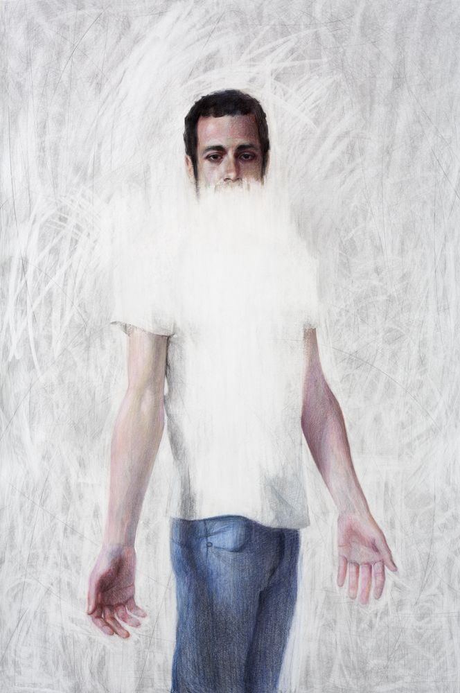 Untitled (Man in blue trousers)  - 2015 - Large pencil drawing on paper - 150x100cm - Angelika Vaxevanidou