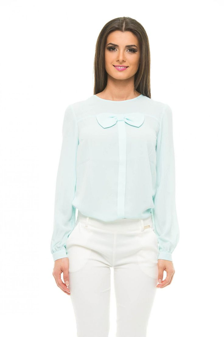 Fashionable Bow Blue Blouse