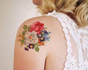 Gran cosecha floral tatuaje temporal / temporal tatuaje de la