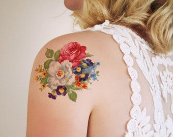 Vintage floral temporary tattoo / flower temporary by Siideways