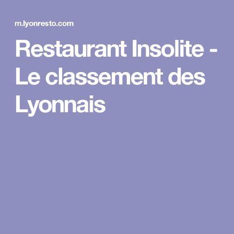 Restaurant Insolite - Le classement des Lyonnais