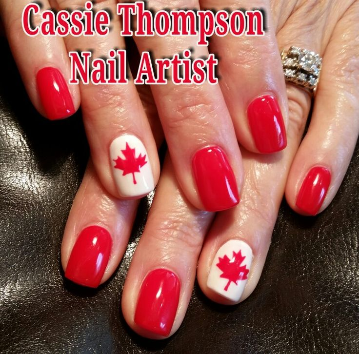 Celebrating the 150th Canada Day July 1st, 2017  Hand painted maple leaf Canadia…   – 1 Cassie Thompson nail artist of Vancouver, WA