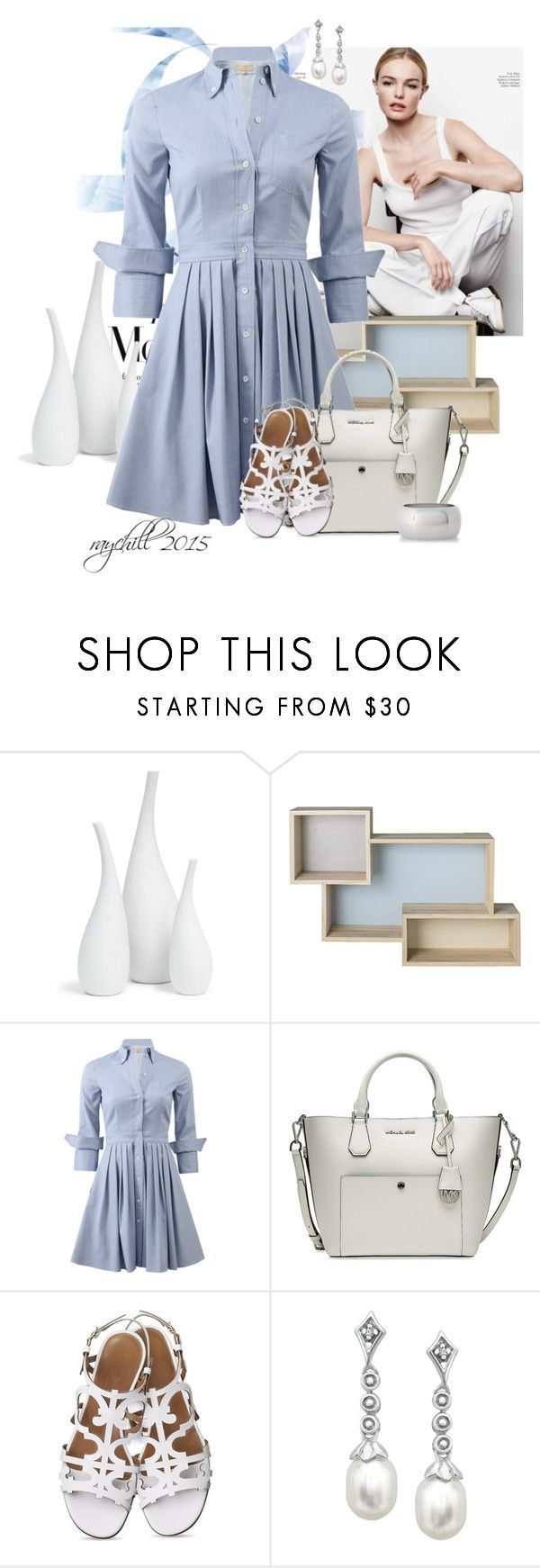 """crisp..."" by raychill3 ❤ liked on Polyvore featuring Mitchell Gold + Bob Williams, Bloomingville, Michael Kors, MICHAEL Michael Kors, Express and shirtdress"