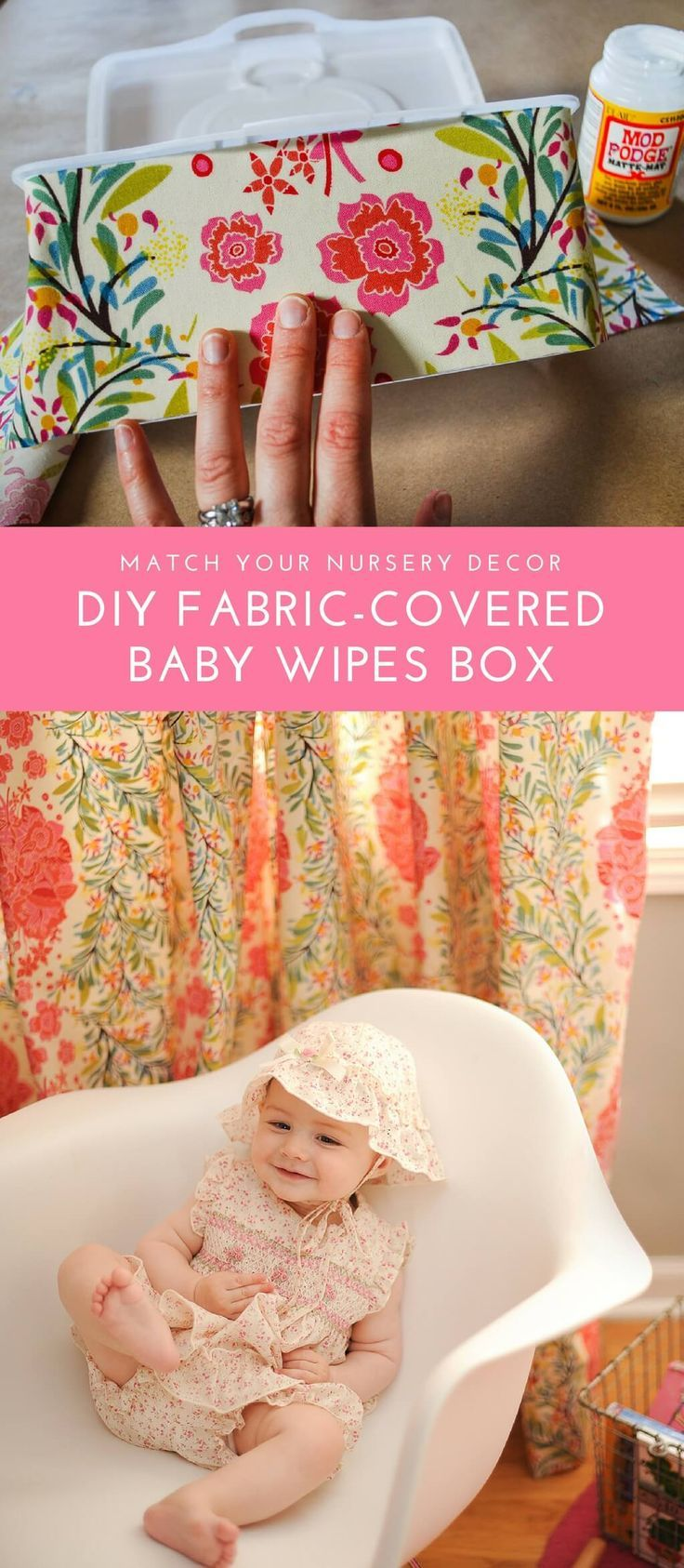 Cover a refillable baby wipes box with fabric to match your nursery decor. This easy DIY baby wipes container craft uses just Mod Podge and a bit of fabric. No need to hide your wipes box anymore! #nursery #decor #modpodge #decoupage #craft #baby