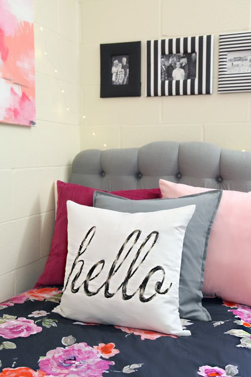 Buy or make a padded headboard for your dorm bed to make it comfortable to sit up in bed to read.  Add lots of pillows for color and comfort!
