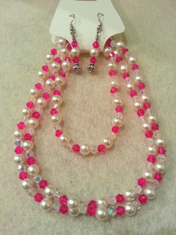 Elegant Set  Pink Swarovski Crystal and by FrantasticCreationz, $20.00