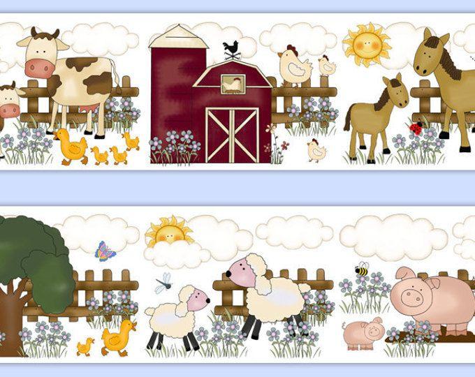 Farm Nursery Animals Girl Wallpaper Border Wall Art Decals