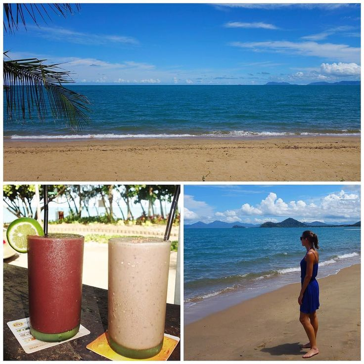 New Year's Day part 2 - recharging on the gorgeous Palm Cove beach (avoiding the stingers / crocodile infested waters!!) & detoxing with acai & raw cacao smoothies from @chillcafepalmcove #whenincairns #thedayafterthenightbefore #newyear2017 #sunshine #beach #travel #australia #neverwanttoleave