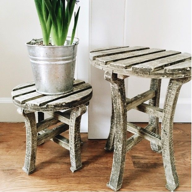 Wooden Plant Stands, Set of 2