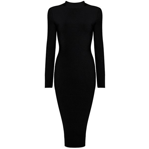 Long Sleeve High Neck Midi Bandage Dress Black ($182) ❤ liked on Polyvore featuring dresses, gowns, midi dress, bandage gown, high-neck dresses, long sleeve ball gowns and bandage dresses