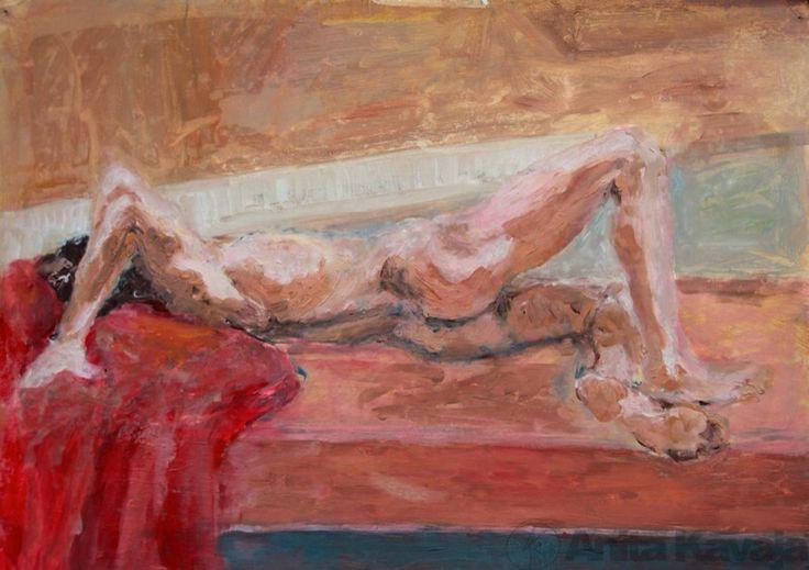 Nude on Orange Bed - Anita Kavaja