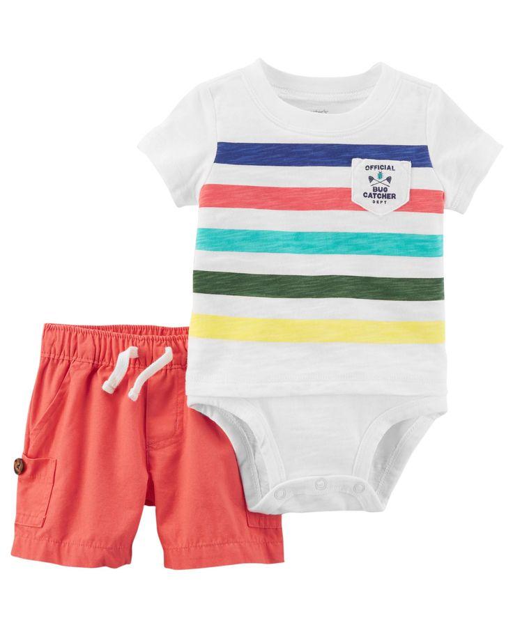 Baby Boy 2-Piece Double-Decker Bodysuit & Canvas Short Set   Carters.com
