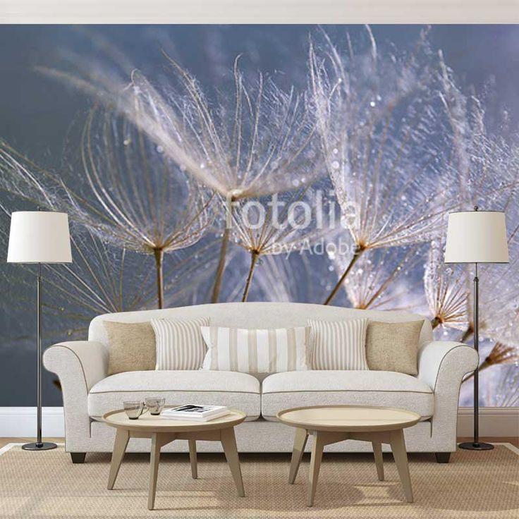 Fotobehang Dandelion (grijsblauw) per m²