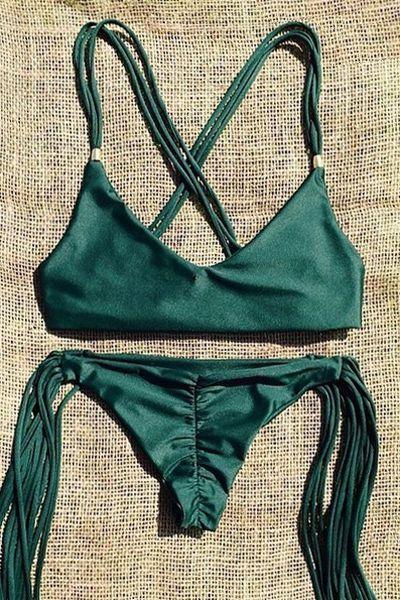 Spaghetti Strap Tassels Green Bikini Set