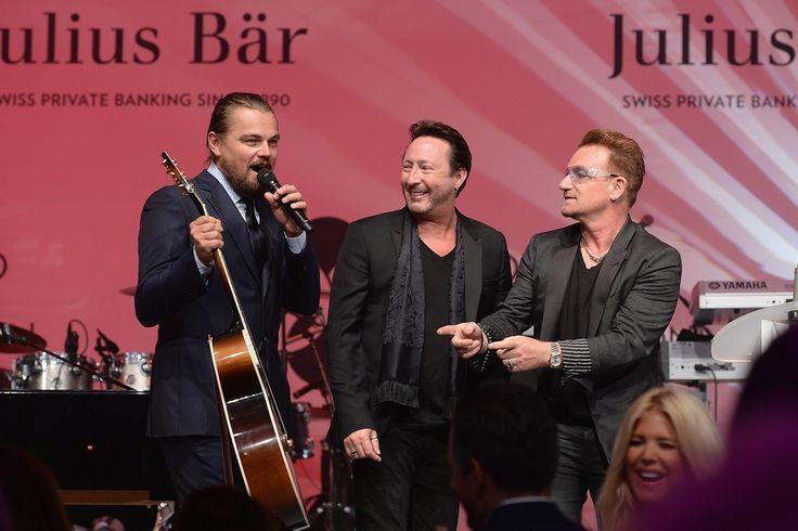 Leonardo DiCaprio, Julian Lennon e Bono Leonardo DiCaprio Foundation gala 2014