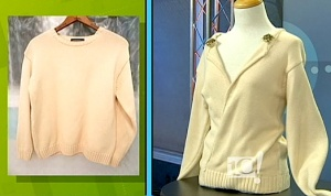 An old boring sweater shouldn't make you despair with a pair of scissors and thread are on hand! The over-sized buttons add the perfect detail to jazz up this new neckline -- all thanks to the style genius of www.thriftyvintagechic.com