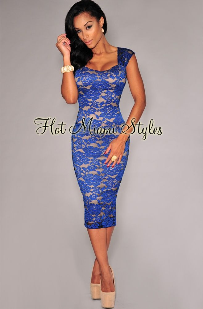 Royal blue lace nude illusion padded midi dress dresses for Wedding guest dresses miami