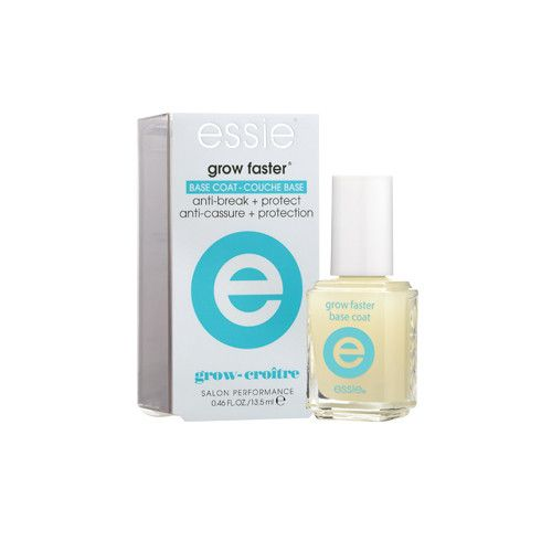 Essie Grow Faster Base Coat #6080 13.5 mL / 0.46 oz Features: Anti-Break + Protect Formulated with Argan Oil and micro-nutrient rich algae extract Helps protect nails from damage and breakage Provides