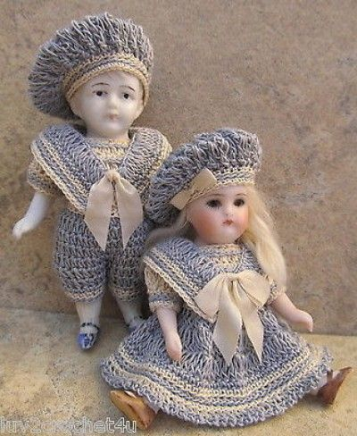 """VICTORIAN STYLE CROCHETED SAILOR ROMPER ET FOR 3 1/2"""" ALL BISQUE DOLL* by Tina (04/02/2014)"""