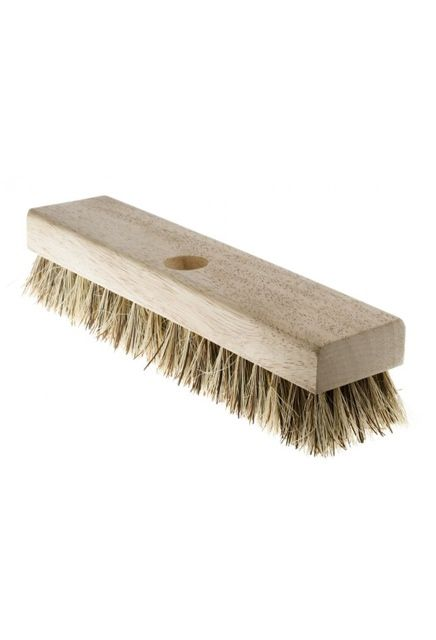 "11"" Natural fibre Deck Brush: Deck brush with wooden block."