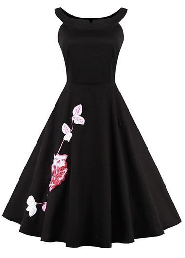 Vintage 50s Style Black Sleeveless Embroidered Swing Party Dress
