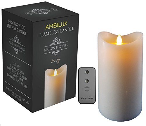 Ambilux by Maison Luxuries – Moving Wick Unscented Flickering Battery Operated Electric LED Flameless Candle with Timer and Remote Control - 100% (3.5
