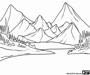 Landscape of the lake and mountains coloring page