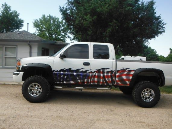 American Flag Wave Truck Vinyl Half Wrap Set Of 2 Etsy In 2020 Truck Window Stickers Truck Decals Country Girl Truck