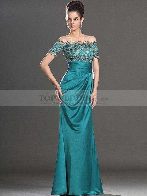 Off the Shoulder Lace Bodice Long Satin Evening Dress