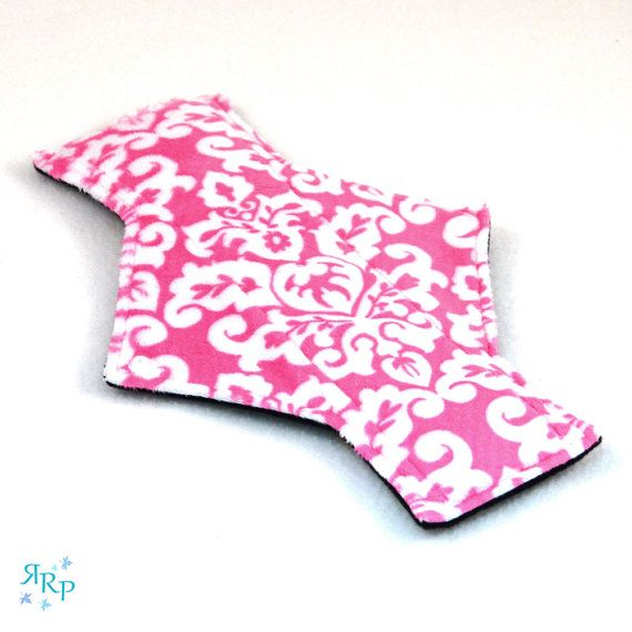 "9"" Light Day Damask Fuchsia Snow Minky backed with premium WindPro Fleece Cloth Menstrual Pad, Mama Cloth, Cloth Pad, Reusable Pad"