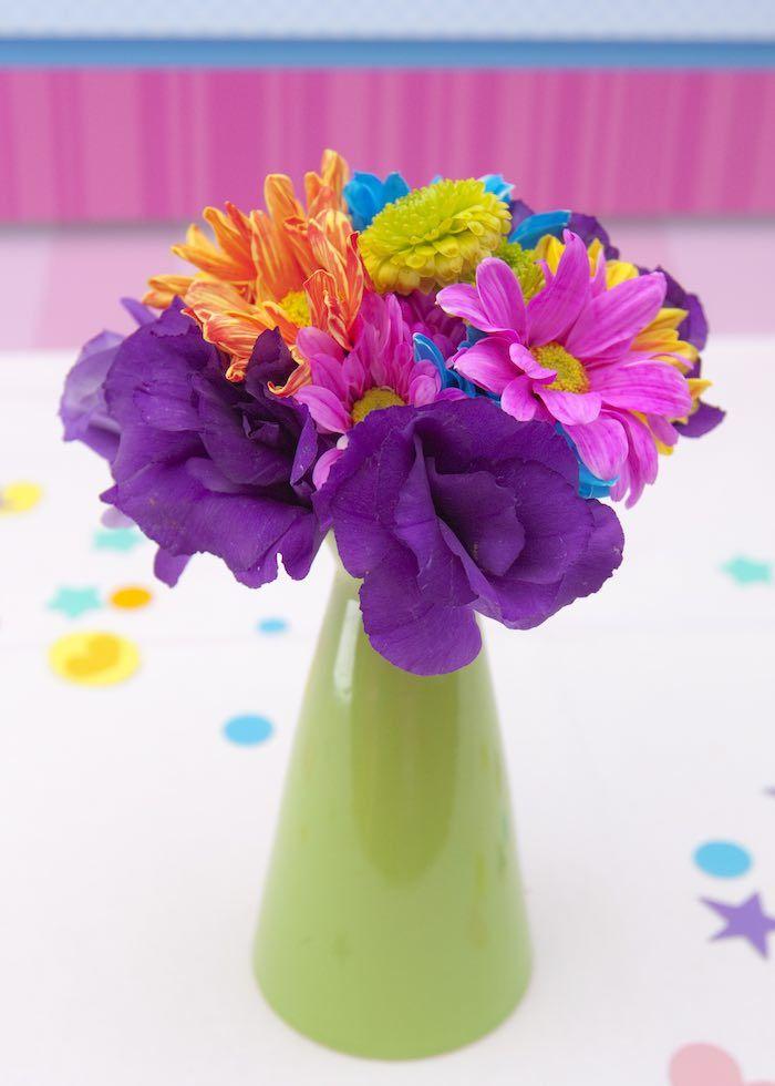 Floral Centerpiece from a Shopkins Birthday Party via Kara's Party Ideas | KarasPartyIdeas.com (23)