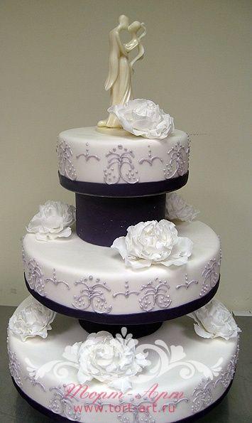 Свадебные торты — Свадебный торт «Белые пионы»