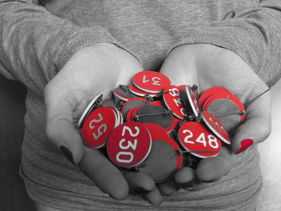 Vintage Red Pin With Number OOAK for each number by GingerLab, €6.00