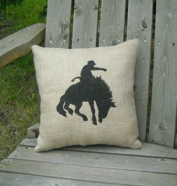 Rodeo Cowboy Bucking Horse Burlap Pillow Country Western Southwestern Rustic Old West Design. I wonder if I could print on burlap then sew the cover. SF