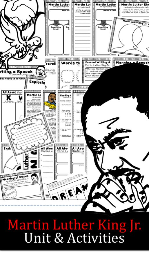 Martin Luther King Jr. unit, activities, and printable. This comprehensive resources will help students create, research and learn about Martin Luther King Jr. This resource is appropriate for celebrating and learning about MLK around his birthday in January, for Black History Month, or for any time of the year when you are learning about influential leaders.