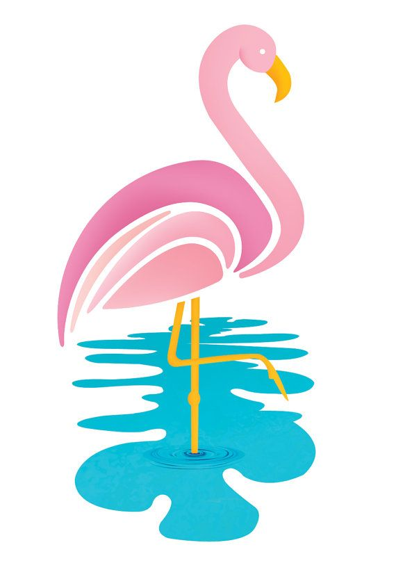 Pink Flamingo Wall Art Kids Room by ShannaRiehlArtShoppe on Etsy