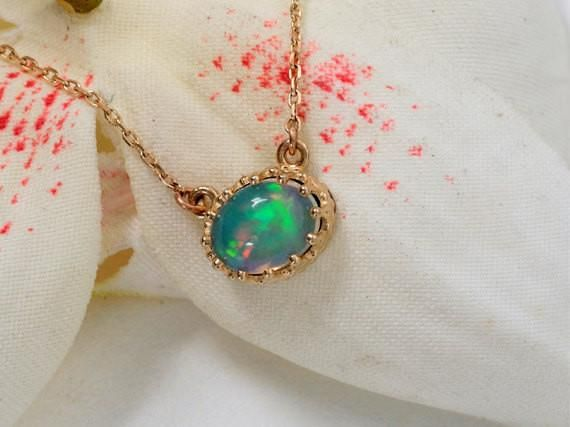 Vintage Design Yellow Gold Opal Necklace #birthstone_necklace #gemstone_necklace #gift_for_her