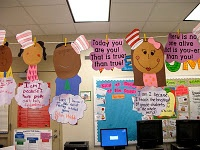 """Happy Birthday to You-The students and I discussed why it is important to be ourselves and how special we are because of our differences. We then created self portraits and completed the following writing prompt: """"I am I because_____"""