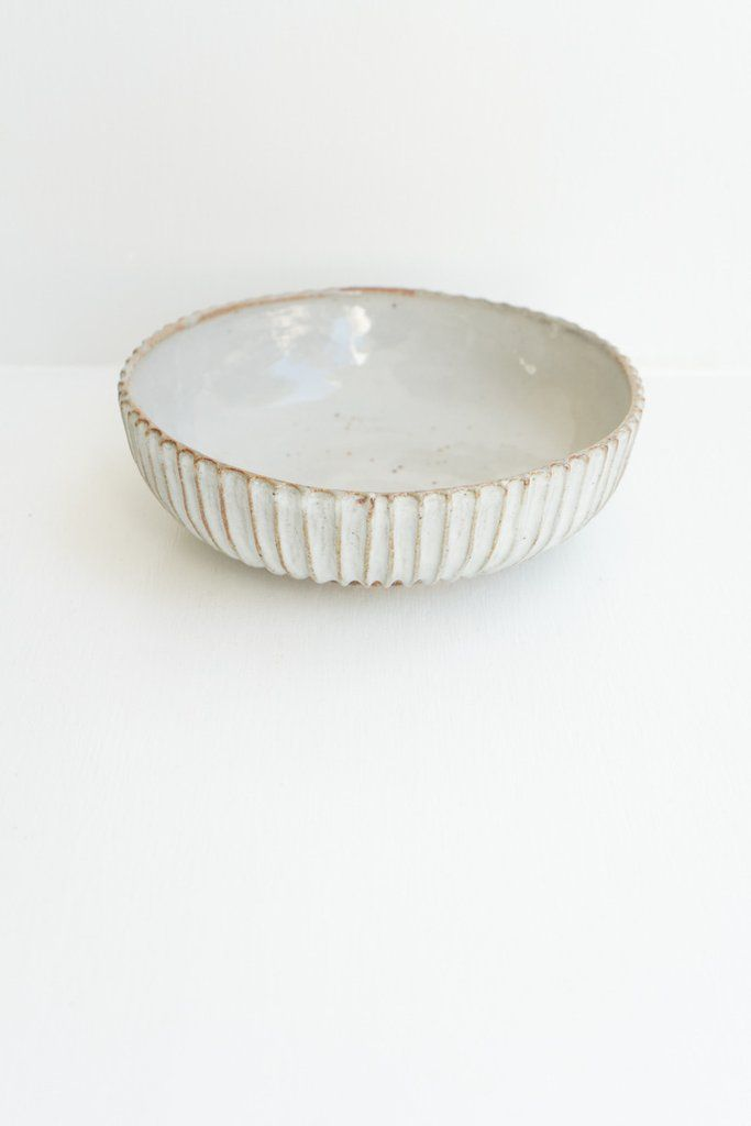 Malinda Reich Large Bowl no. 621 - A white-glazed bowl, with line pattern. - from QUITOKEETO.com