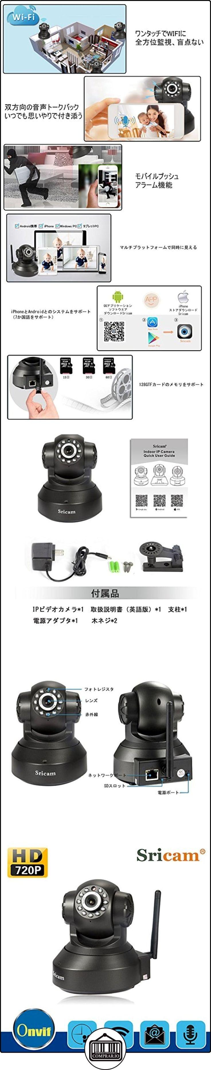 Sricam cámara de monitor inalámbrico de visión nocturna de alta definición de 720P,apoya la tarjeta de TF de 128G, y la voz bidireccional ,función de hacer la alarma móvil.  ✿ Vigilabebés - Seguridad ✿ ▬► Ver oferta: http://comprar.io/goto/B01N13KV80