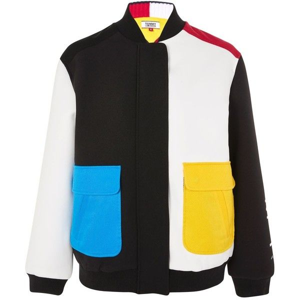 623dcb7f2 Colour Block Bomber Jacket by Tommy Jeans ($155) ❤ liked on ...