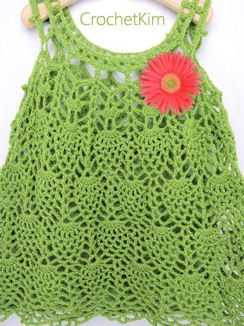 CrochetKim Free Crochet Pattern | Pineapple Cascade Baby Dress @crochetkim