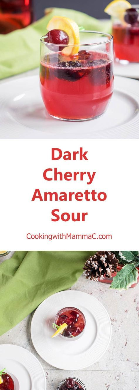 Dark Cherry Amaretto Sour - A delicious holiday cocktail that's perfect any time of year! With frozen cherries, homemade sour mix and common ingredients. #cocktail #cocktailrecipes #amarettosour #cherry