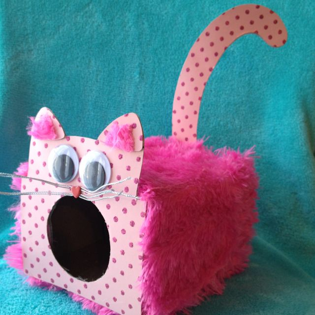 Valentine Box made from Tissue box, an old teddy bear's fur, and some fun card stock. Pattern is on Family Fun website