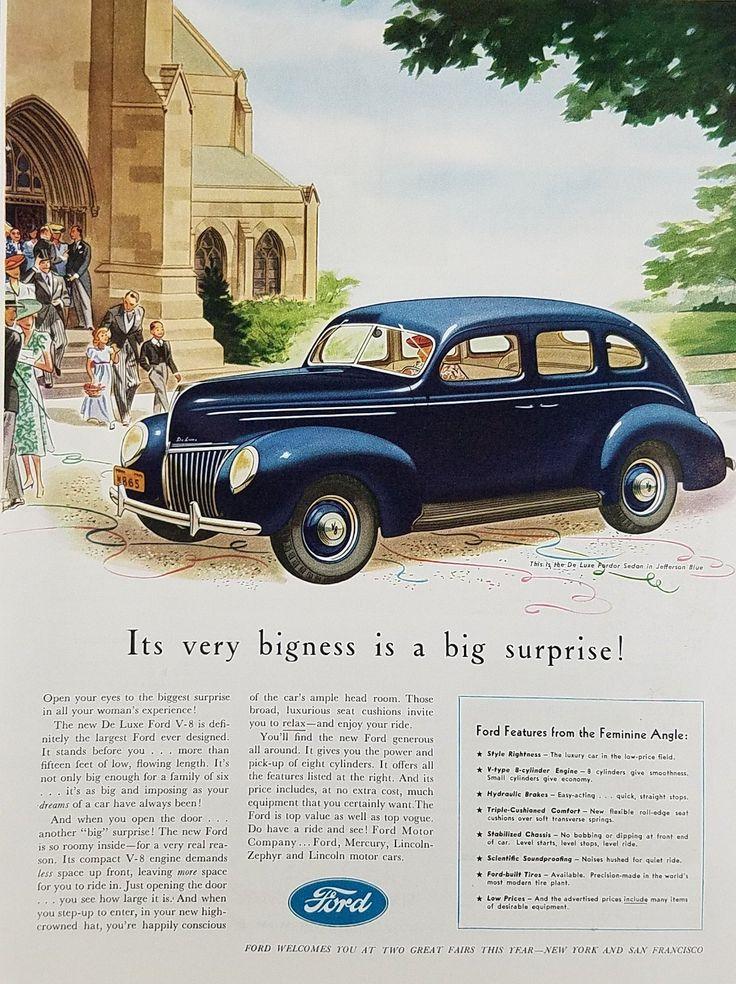 1939 Ford De Luxe V8 Car Vintage Ad - It's Very Bigness Is Big Surprise