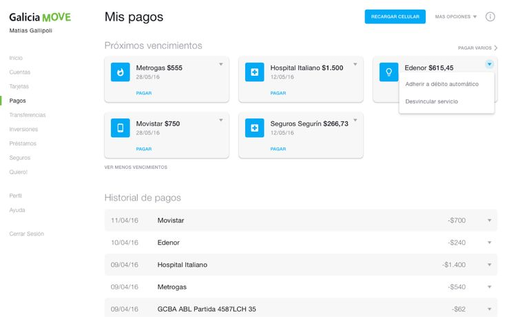 Galicia's Online Banking Move Desktop Preview