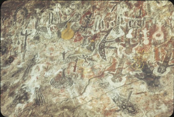 BA2756/14: Aboriginal paintings in a low cave near Well 35 on the Canning Stock Route, 7 May 1979. http://encore.slwa.wa.gov.au/iii/encore/record/C__Rb4636062__SArt%2C%20Aboriginal%20Australian%20--%20Western%20Australia%20__Ff%3Afacetmediatype%3Av%3Av%3APhotograph%3A%3A__P0%2C10__Orightresult__U__X3?lang=eng&suite=def